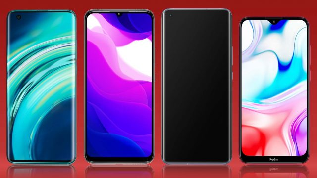 Xiaomi-Handy-Vergleich: Mehrere Smartphones von vorne in einer Reihe