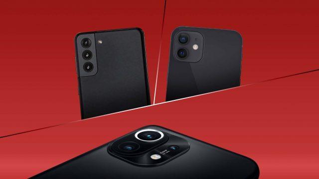 Galaxy S21, iPhone 12 und Xiaomi Mi 11 Rückseiten mit Kamera