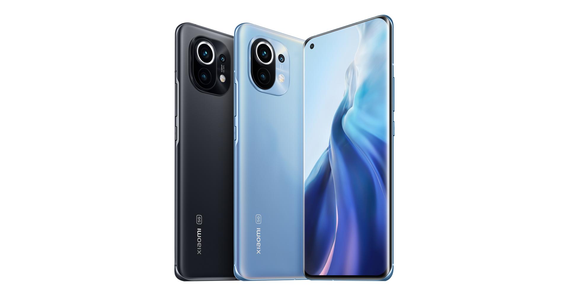 Xiaomi Mi 11 vorne und hinten in Grau und Blau