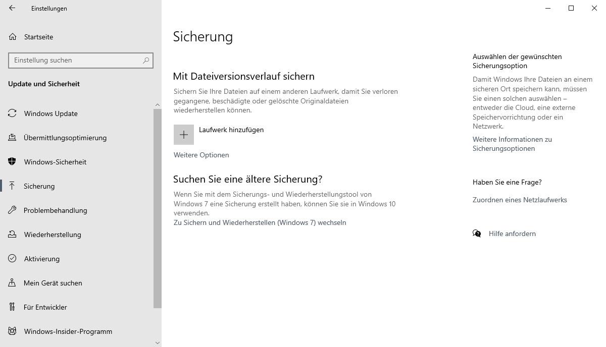 Dateiversionsverlauf für Windows-10-Back-up nutzen