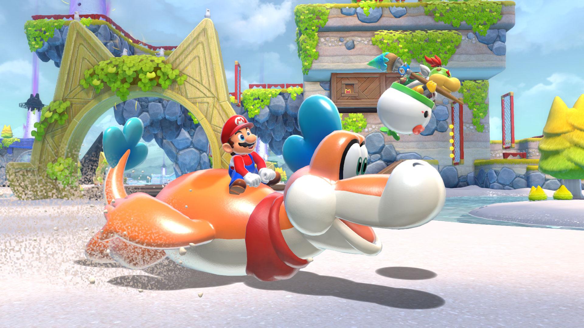 Super Mario jagt auf einem Dino über den Strand.
