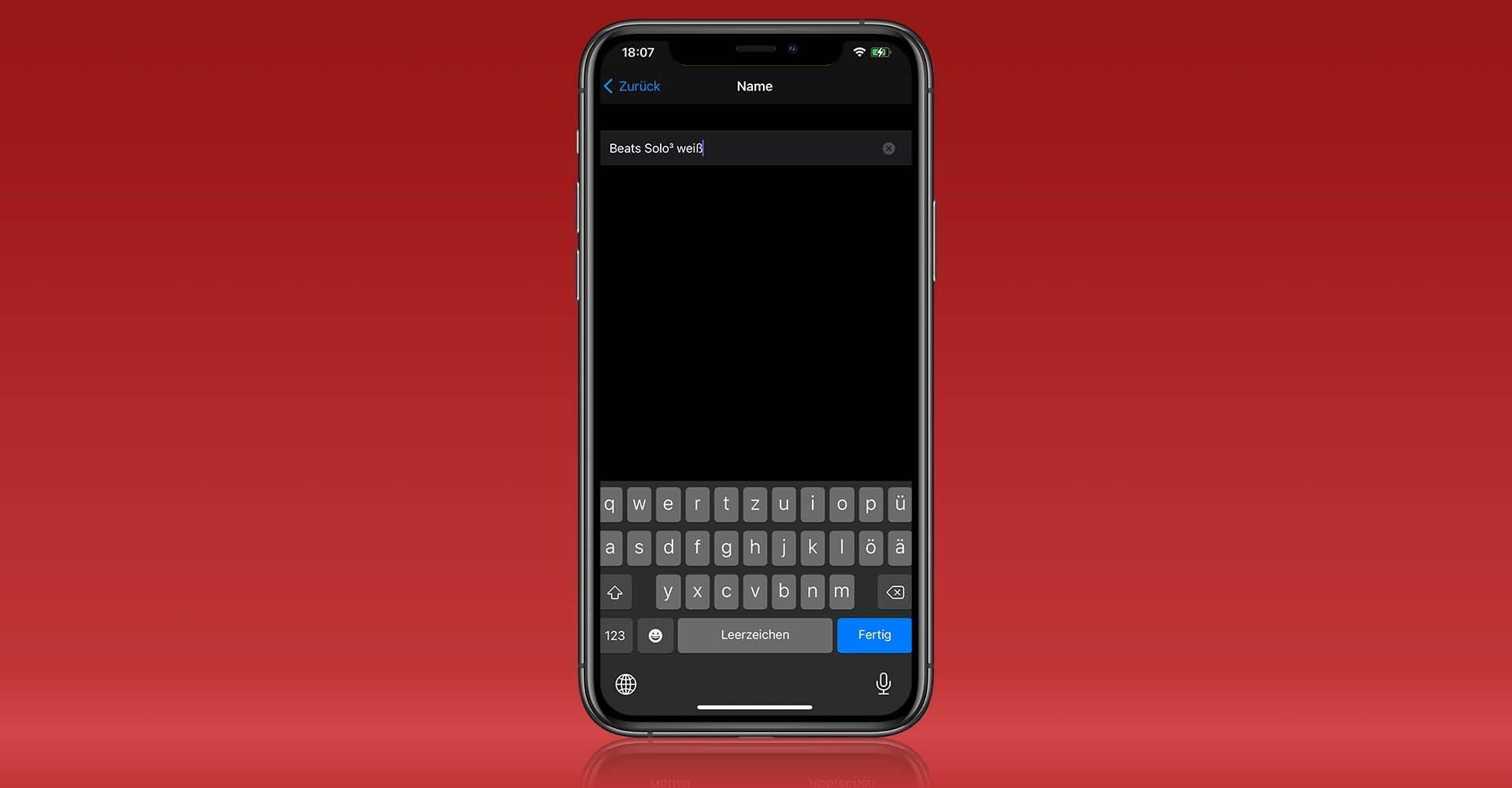 Screenshot: Bluetooth-Gerät auf dem iPhone umbenennen