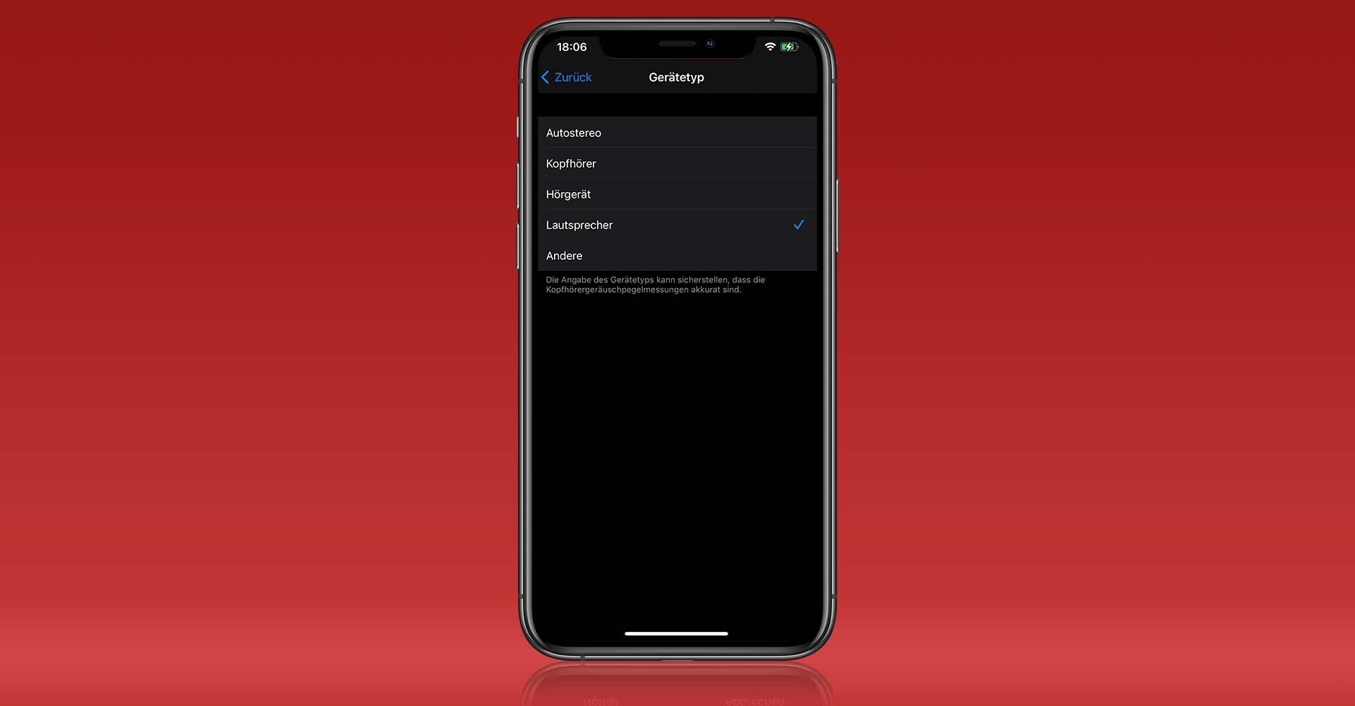 Screenshot: Gerätetyp eines Bluetooth-Geräts auf dem iPhone ändern