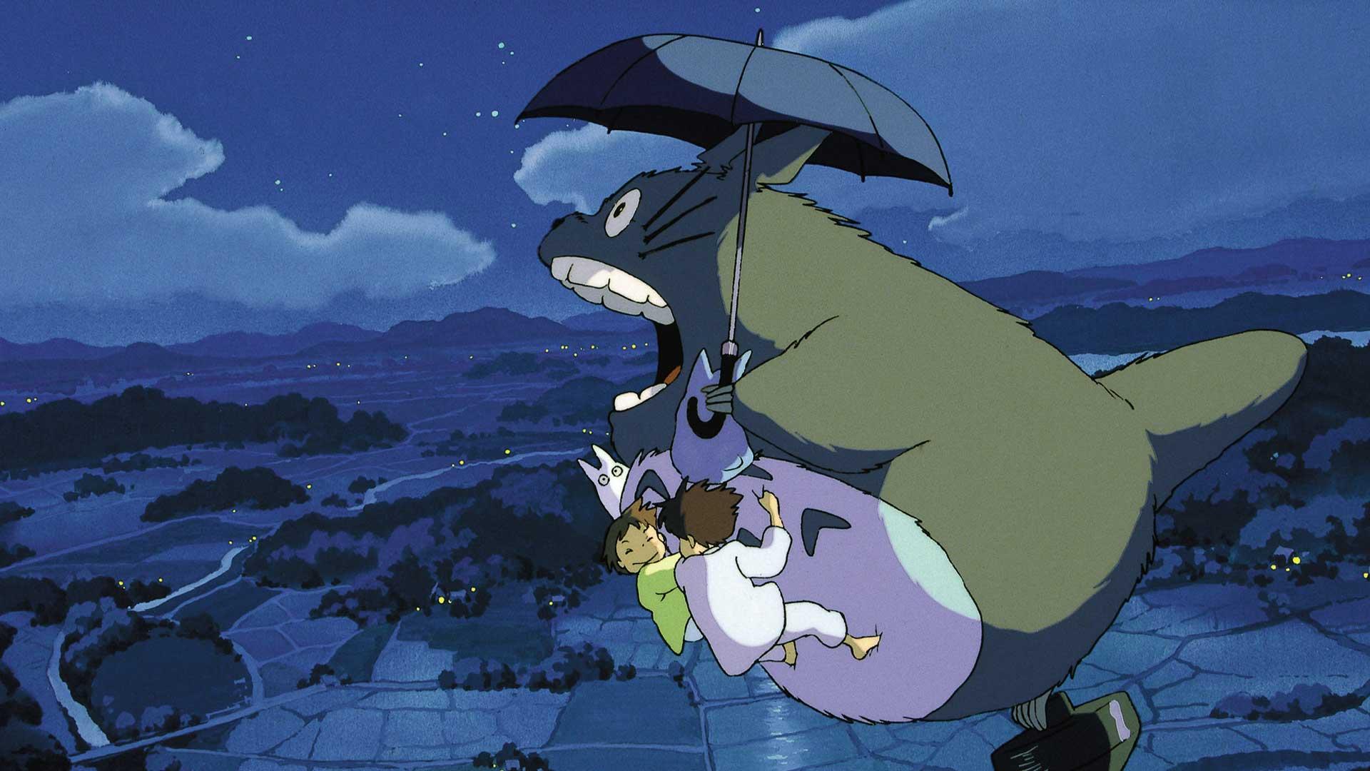 Totoro fliegt in der Nacht