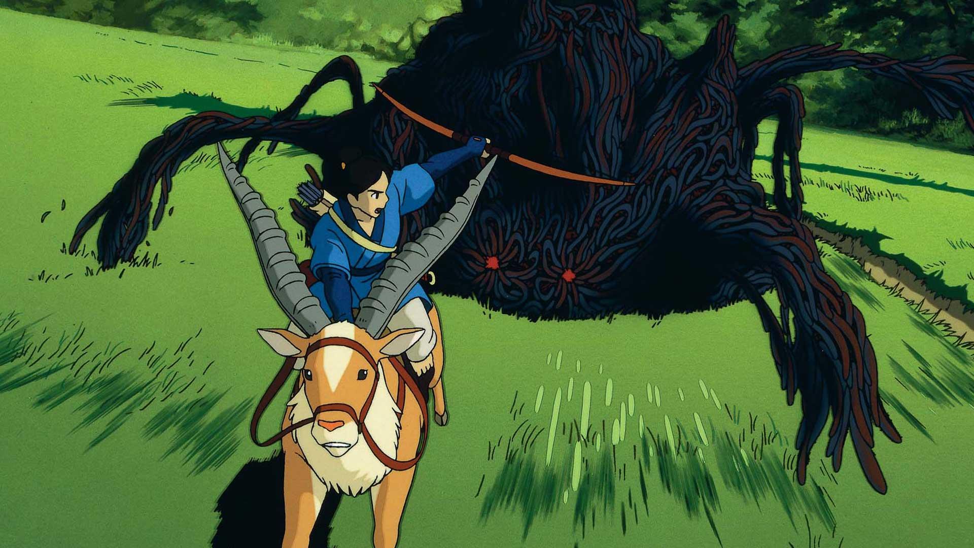 """Ashitaka wird im Film """"Prinzessin Mononoke"""" von einem Dämon verfolgt"""