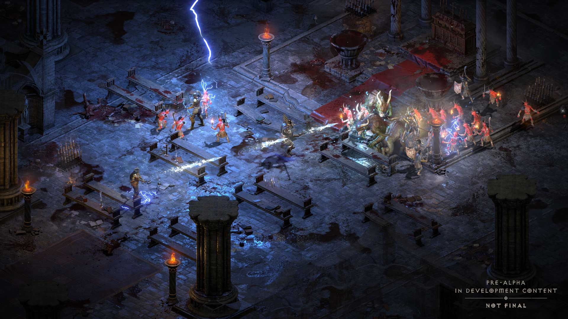Diablo 2: Zauberer bekämpft Horden von Gegnern in der Kathedrale