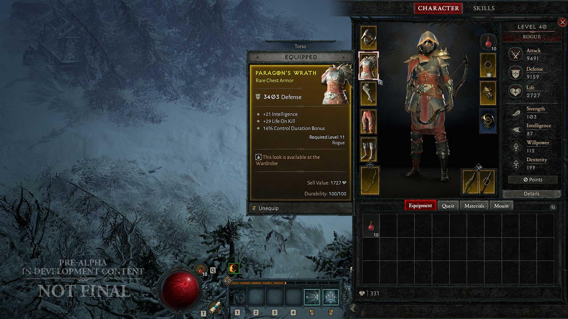 Inventar der Rogue in Diablo 4