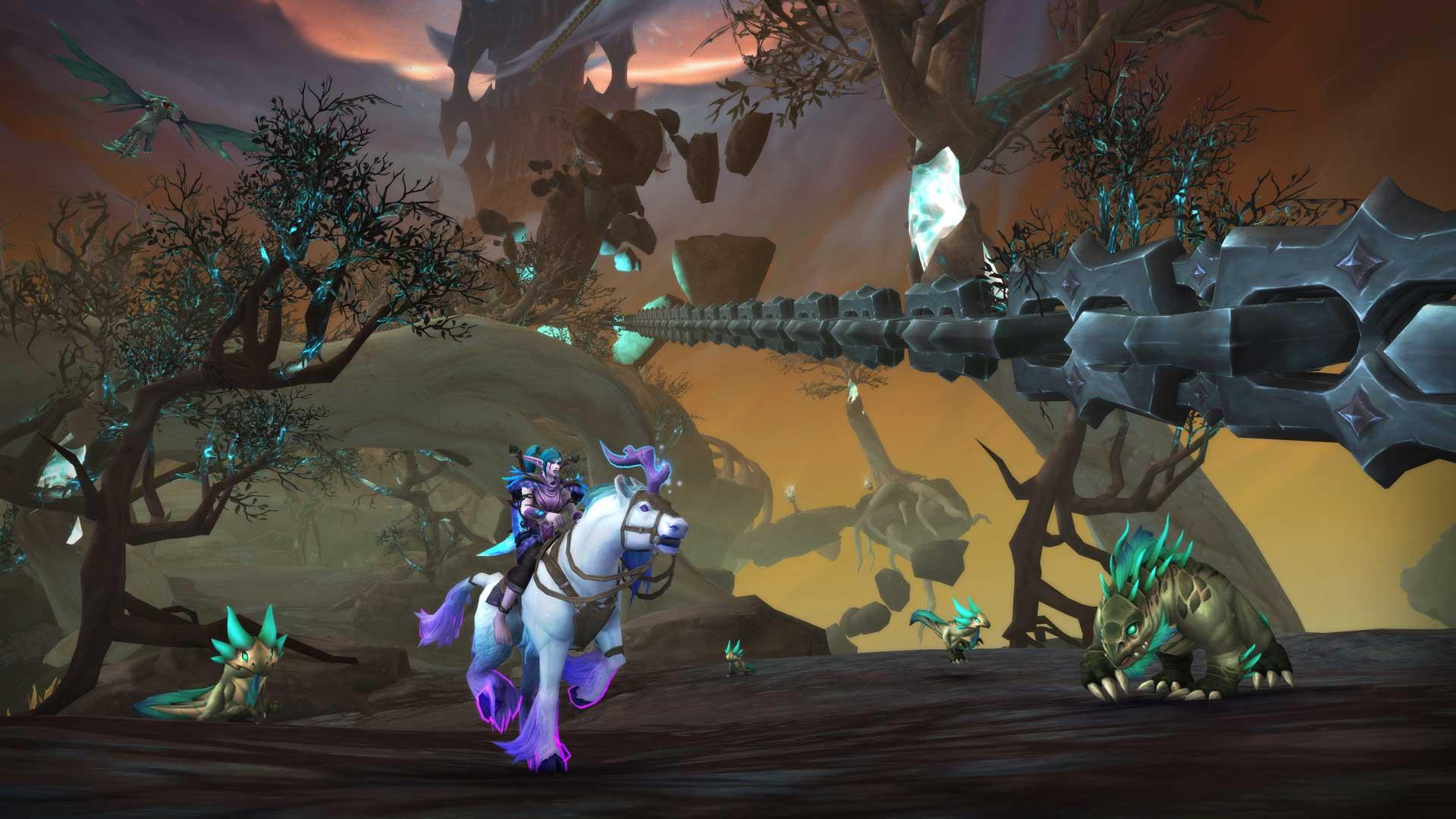 Spieler rietet Einhorn in WoW Shadowlands