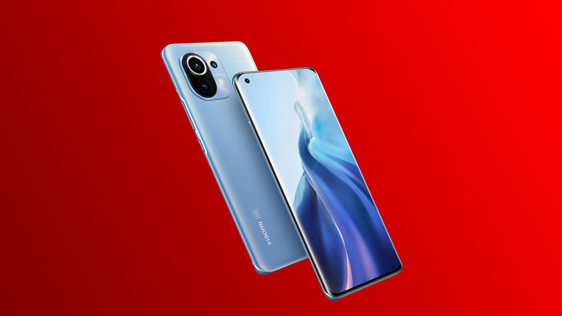 Das neue Smartphone Xiaomi Mi 11 | 5G in Horizon Blue frontal und rückseitig.