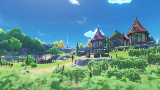 Ein Charakter läuft in Genshin Impact einen Hang hoch