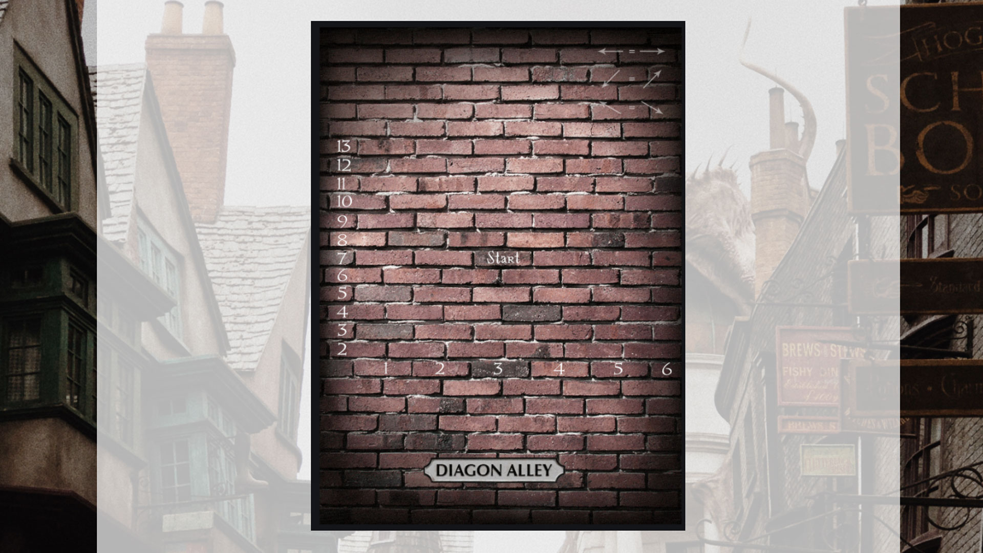 """Die Mauer der Winkelgasse aus Harry Potter im virtuellen Escape-Room """"The Hogwarts Escape""""."""