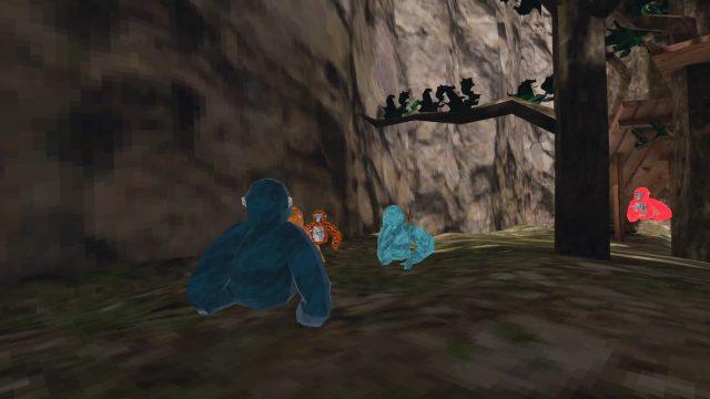 """Mehrere bunte Affen fangen sich im VR-Spiel """"Gorilla Tag"""" für Microsoft Windows."""
