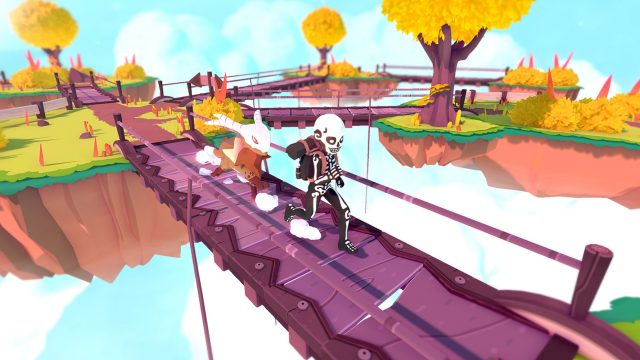 Eim Tamer geht mit seinem Temtem über eine Brücke