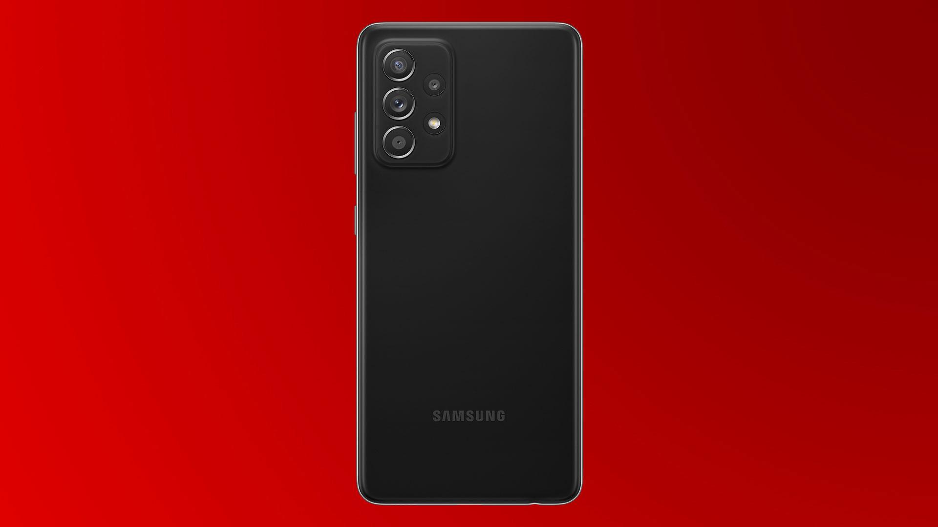 Das neue Samsung Galaxy A 52 5G in Schwarz mit Quad-Kamera.