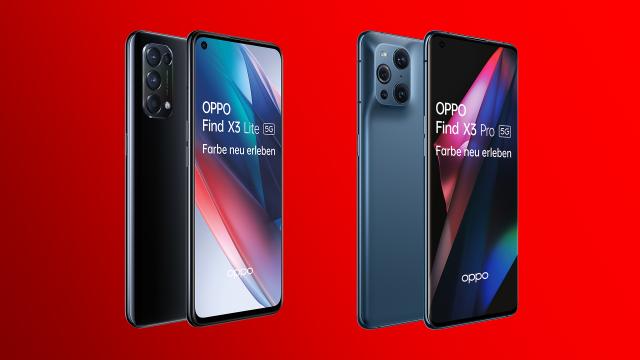 Das Oppo Find X3 Lite 5G in Fluid Black und das Oppo Find X3 Pro 5G in Blue.