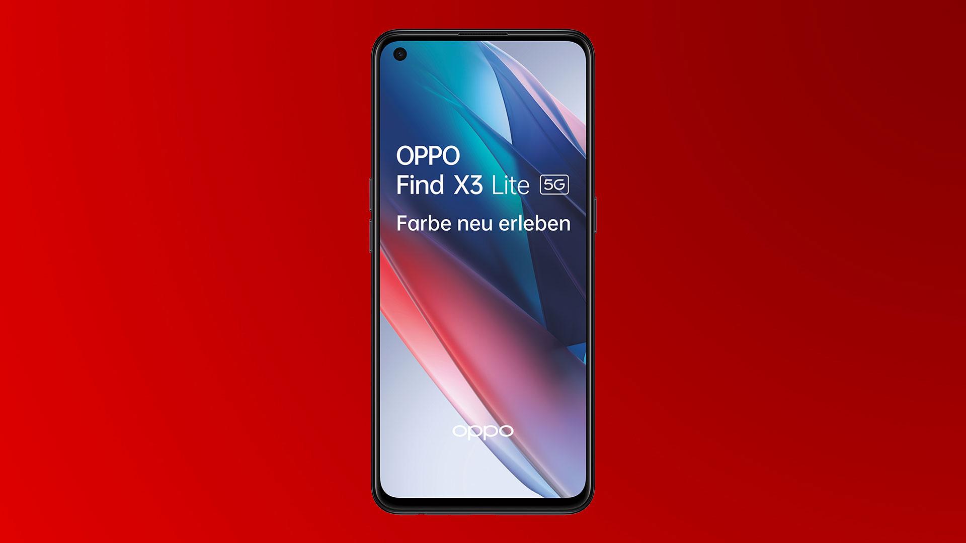 Das Oppo Find X3 Lite 5G in Fluid Black und frontal.