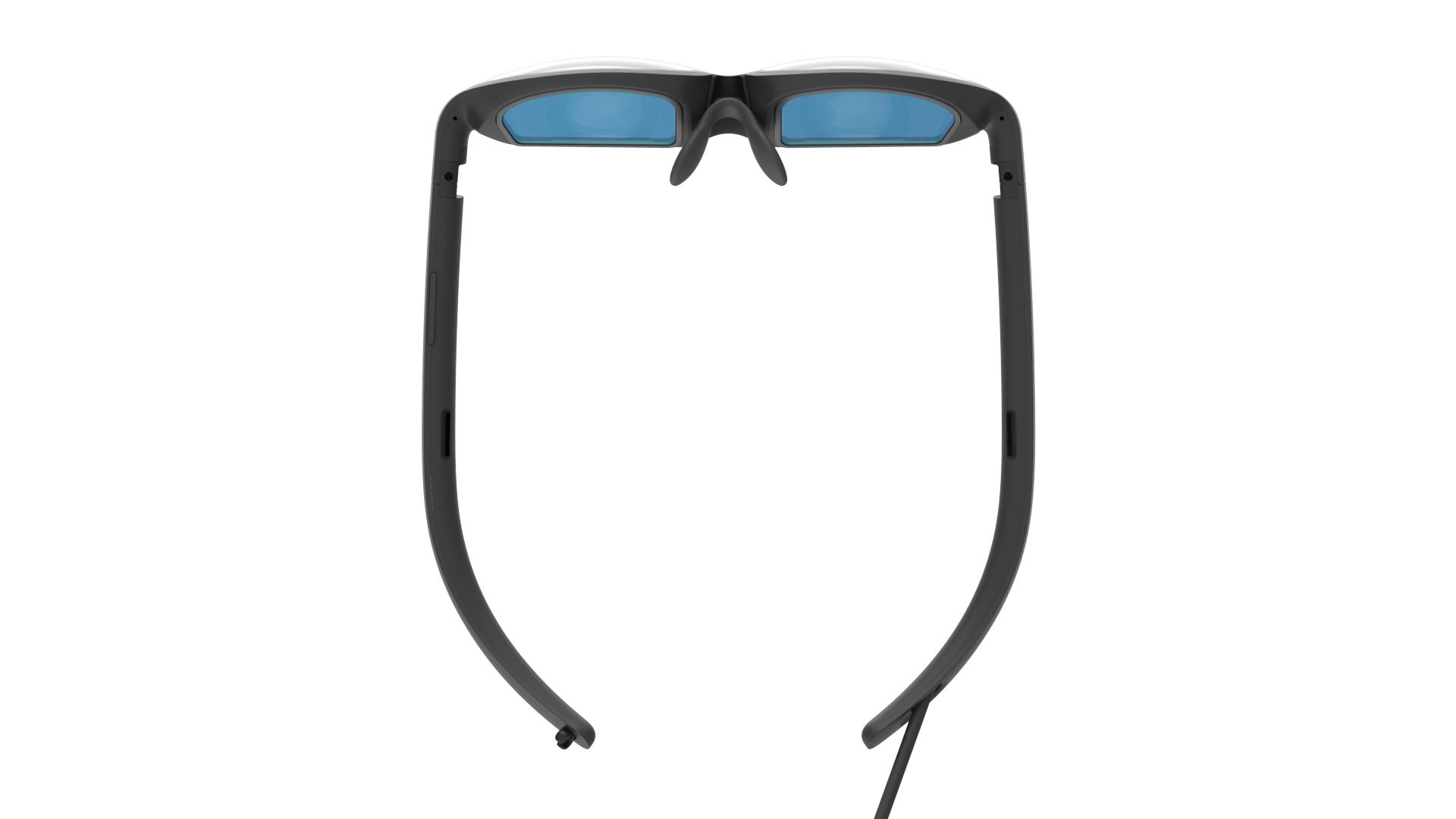 Die Mixed-Reality-Brille Nreal Light von oben.