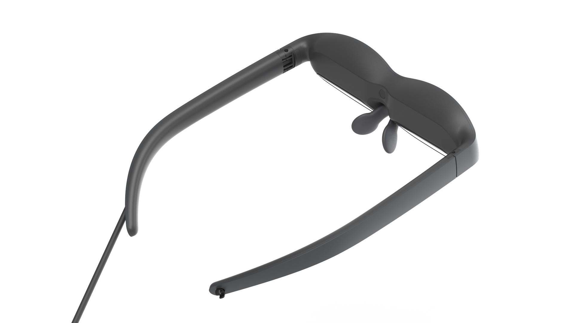 Die Mixed-Reality-Brille Nreal Light von der Rückseite.