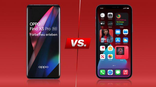 Oppo Find X3 Pro und iPhone 12 Pro Max nebeneinander vor rotem Hintergrund