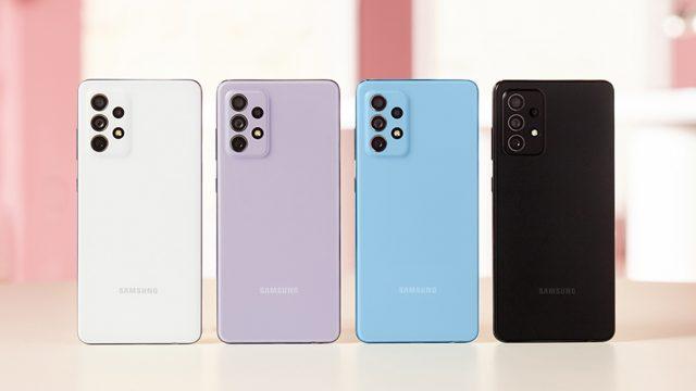 Samsung Galaxy A52 von hinten in vier Farben