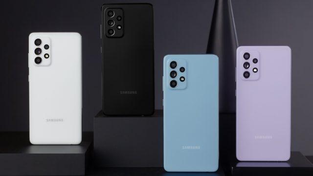 Galaxy A52 von hinten in vier Farben