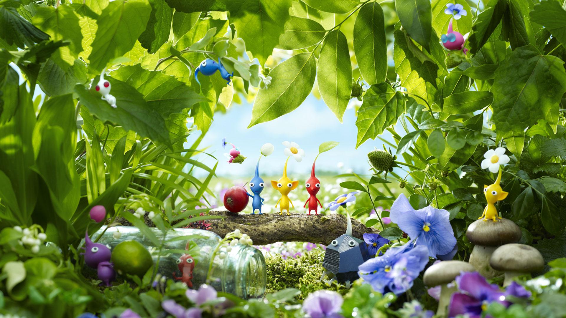 Die Pflanzenwesen Pikmin stehen im Wald. Ein Screenshot aus dem Spiel Pikmin 3 Deluxe.
