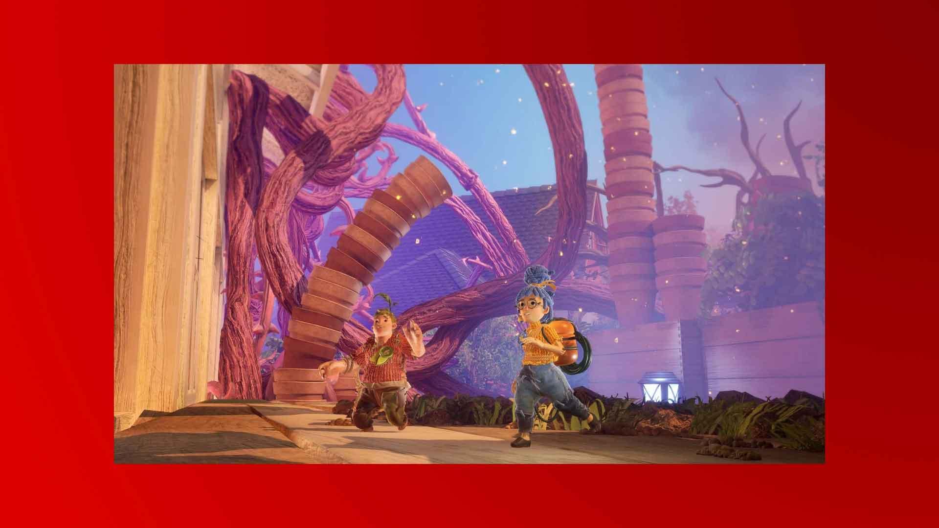 """Die Puppen Cody und Mary im EA-Spiel """"It Takes Two"""" rennen durch eine Fantasiewelt."""