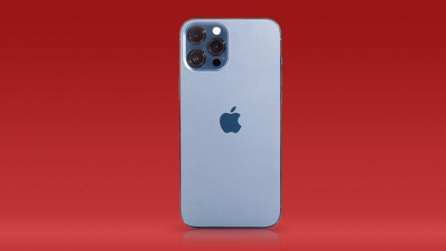 Rückseite des iPhone 12 Pro Max vor rotem Hintergrund