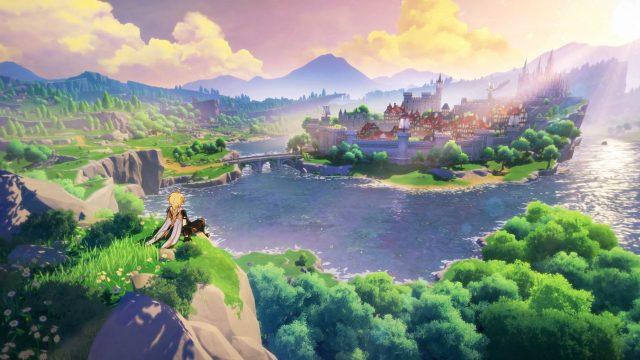 Der Protagonist aus Genshin Impact sitzt auf einer Klippe und schaut auf die Stadt