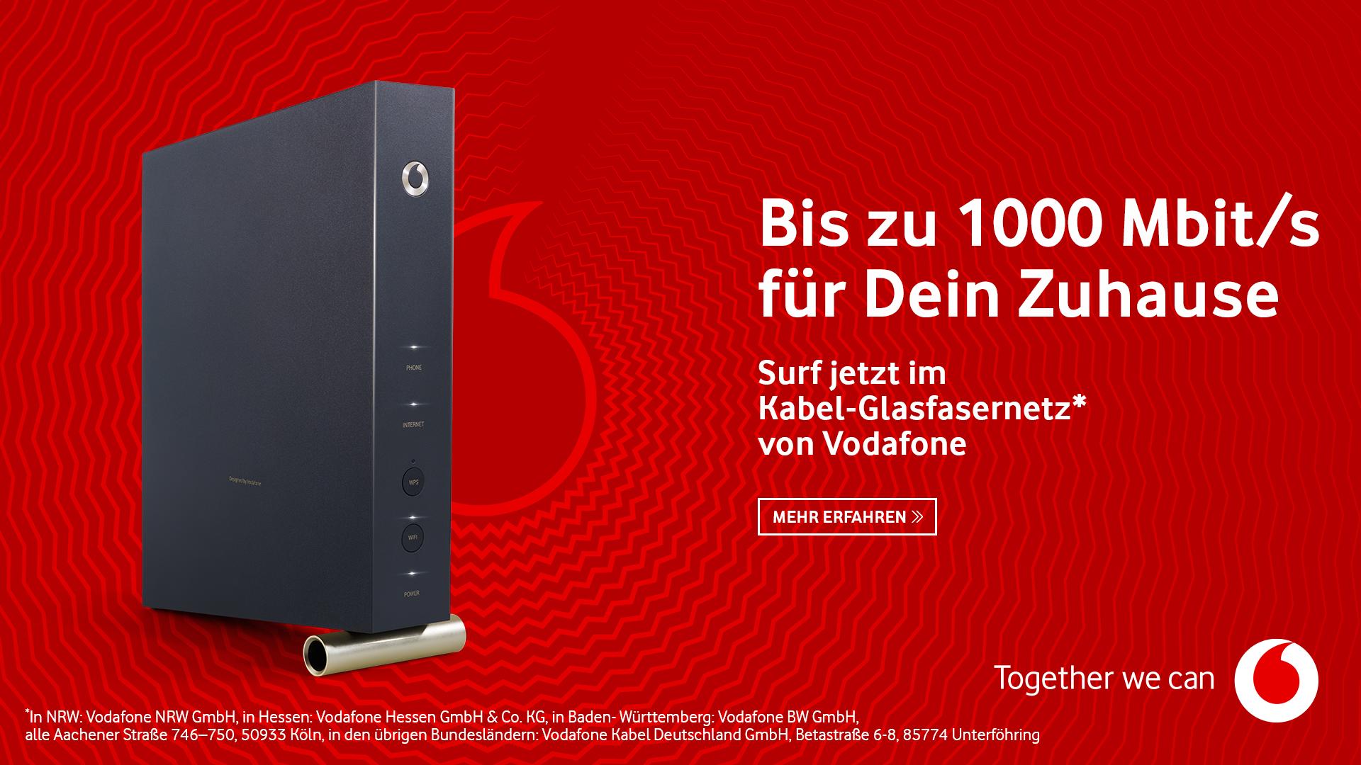 Bis zu 1000 Mbit/s für Dein Zuhause im Vodafone Kabel-Glasfasernetz.