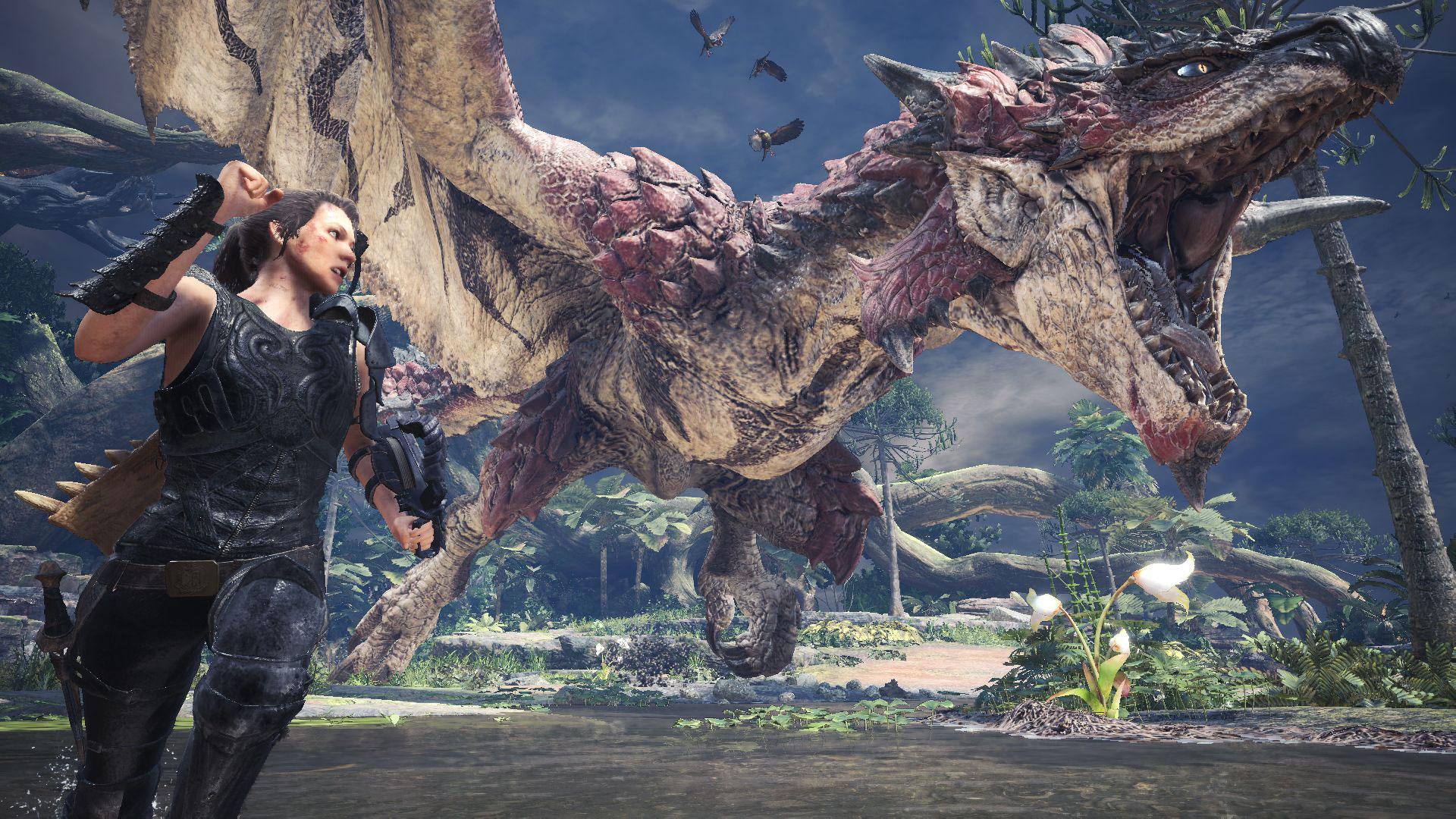 """Artwork des Spiels: """"Monster Hunter World: Iceborne"""". Die Spielfigur rennt vor einem Drachen weg."""