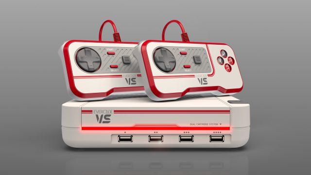 Die Evercade VS Console mit zwei Controllern.