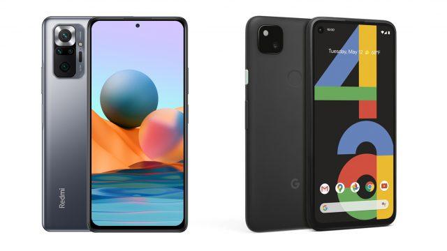 Redmi Note 10 Pro und Pixel 4a von beiden Seiten