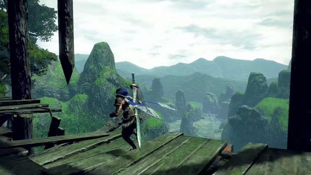 Der Spieler läuft in Monster Hunter Rise auf einer kaputten Holzbrücke