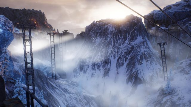 Die Eislandschaft in Eagle Peaks in Outriders