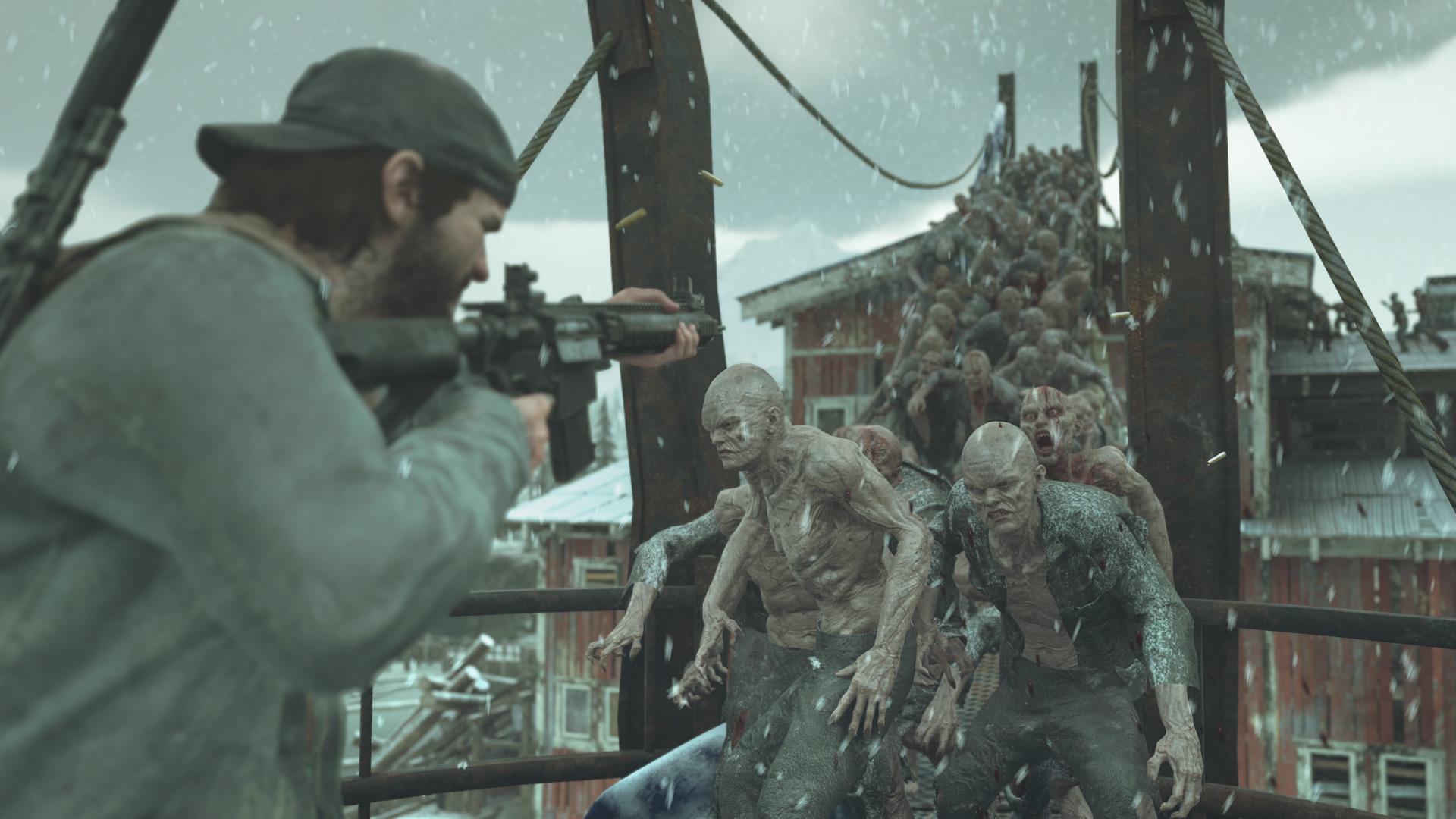 Ein Mann kämpft auf einer Brücke gegen Zombie-artige Kreaturen