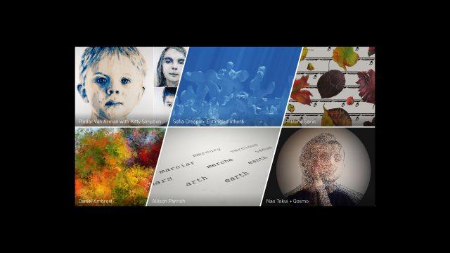Gemälde, Bilder, Portraits und Texte, die durch KI entstanden sind, in einer Collage.