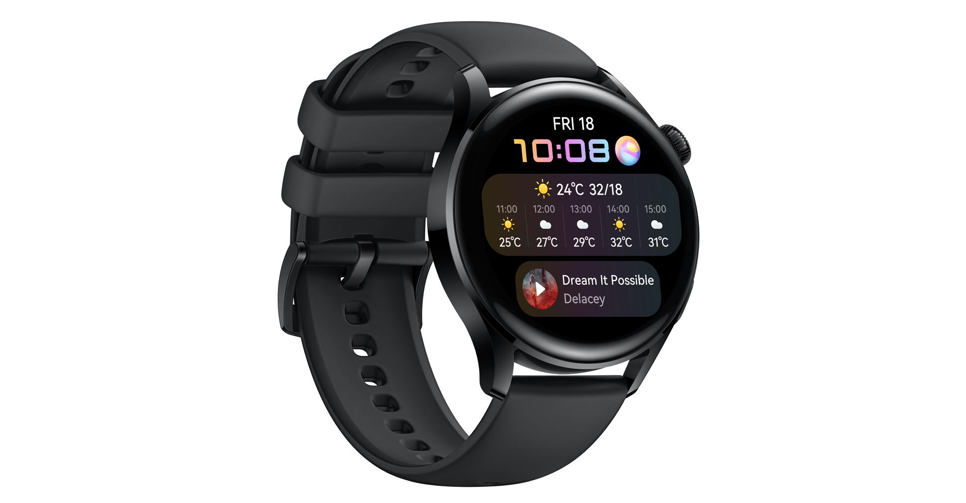 Huawei Watch 3 in Schwarz mit Kunststoffarmband