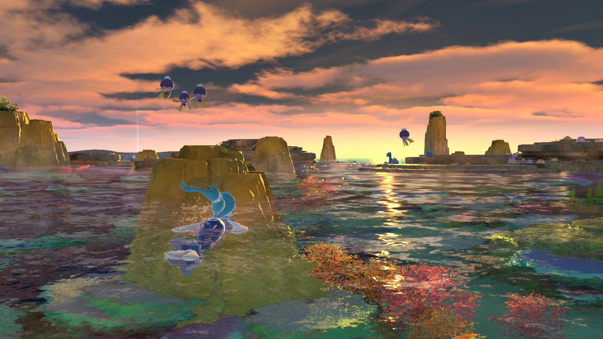 """Ein See, in dem ein Pokémon schwimmt, am Horizont geht die Sonne unter. Eine Szene aus """"New Pokémon Snap""""."""