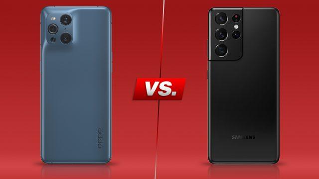 Das Oppo Find X3 Pro und das Samsung Galaxy S21 Ultra nebeneinander
