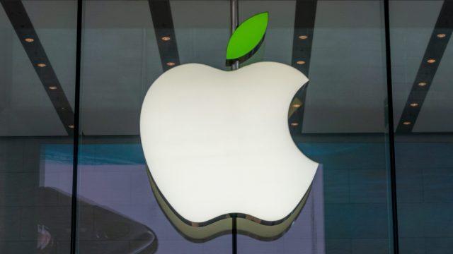 Apple-Logo mit grünem Blatt