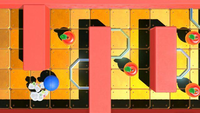 """Ein Game, das mit dem Nintendo """"Spielestudio"""" entwickelt wurde: Ein blauer Ball rollt an Äpfeln vorbei durch ein Labyrinth."""