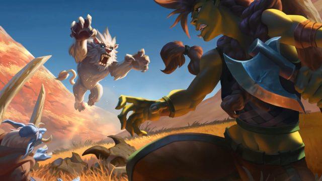Eine Raubkatze greift einen Orc In Hearthstone an.