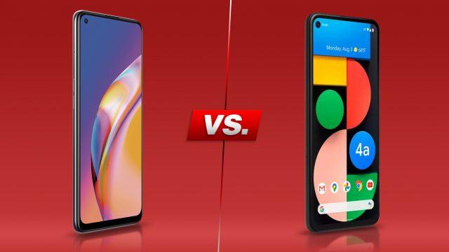 Oppo A94 5G und Pixel 4a 5G vor rotem Hintergrund