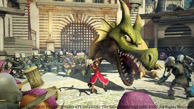 """Eine Schwertkämpferin bekämpft einen Drachen im Spiel """"Dragon Quest"""""""