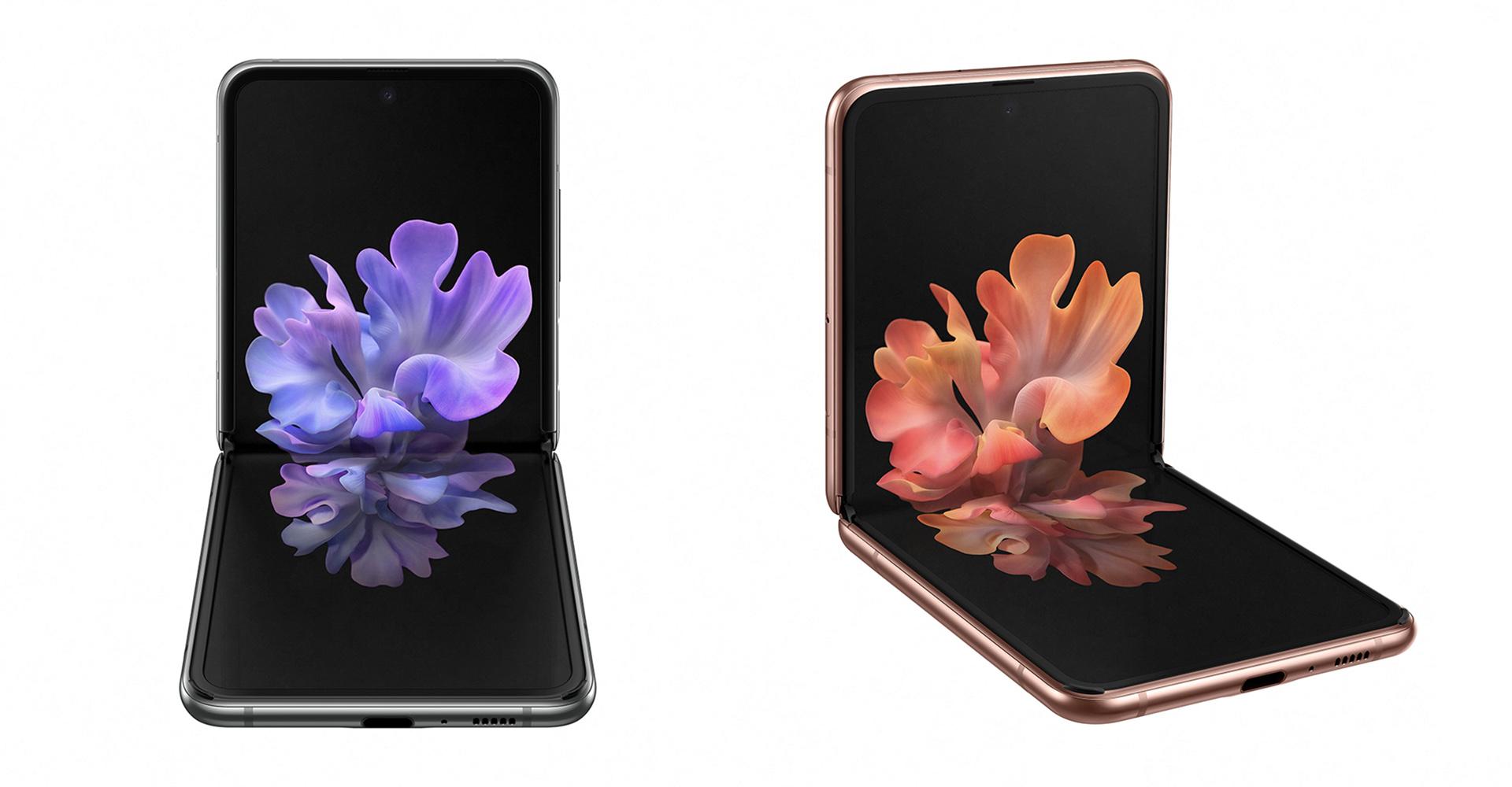 Galaxy Z Flip 5G halb gefaltet von vorne in zwei Farben