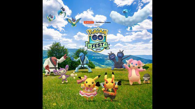 Mehrere Pokémon sind auf einer Wiese zu sehen. Ein Bild zum Pokémon GO Fest 2021.