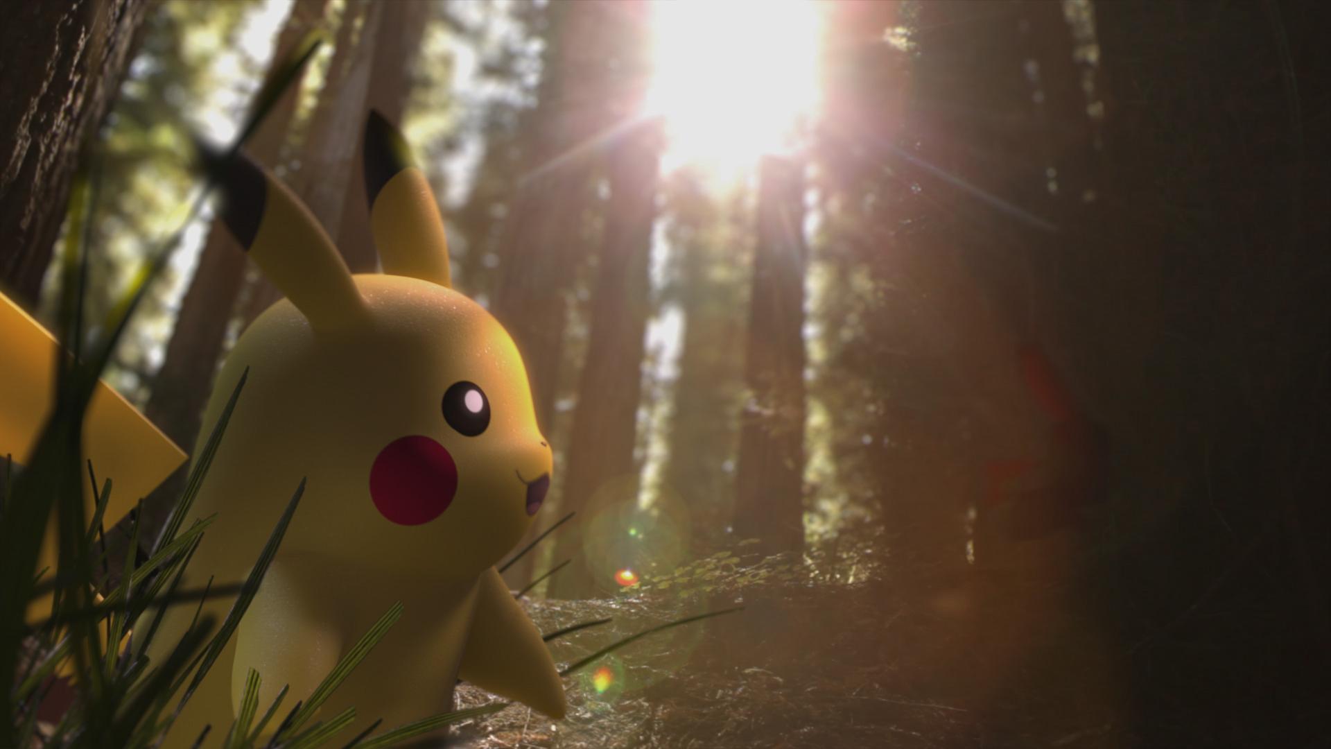 Ein Pikachu im Wald, aus einer Lichtung strahlt Sonnenlicht.