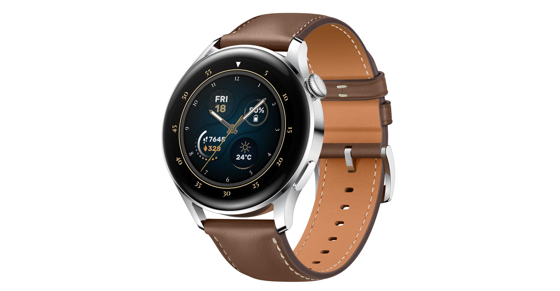 Huawei Watch 3 mit Lederarmband von vorne
