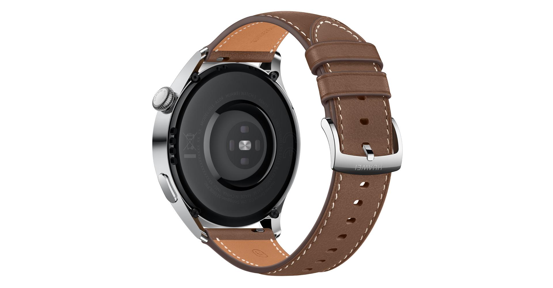 Die Huawei Watch 3 mit Lederarmband von hinten